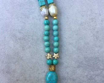 Turquoise & Large Freshwater Pearls Necklace