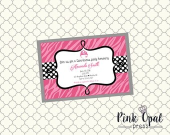 Little Diva Pink and Zebra Custom Baby Shower Invitation - Printable