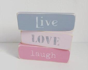Live love laugh wooden blocks