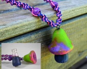 Secret Stash Necklace, Green Purple and Pink, Hidden Compartment, Rave Wear, Bonnaroo, PsiloPod Stash Box