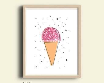 Ice cream illustration, kids room decor, Nursery decor, illustration print, printable kitchen decor, instant download printable art, 8X10