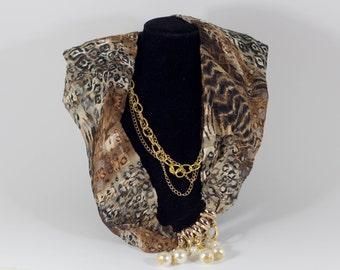 Silk Scarf With Gold Jewelry