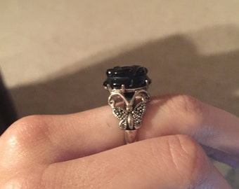 Black Onyx Rose Ring
