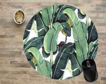 "Banana Leaf Mouse Pad, Mouse Pad, Ready To Ship, Computer Mouse Pad, Mouse Pads, 8"" Round Mouse Pad"