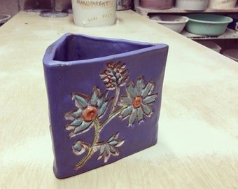 Handmade Triangular Stoneware Flower Planter
