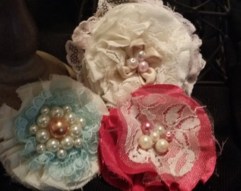 3 piece shabby chic flowers