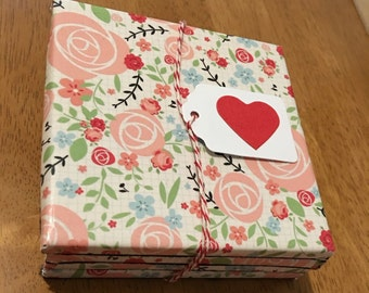 Tile Coasters - Set of Four - Pink Floral Roses