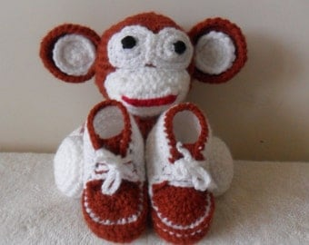 Cheeky Monkey amigurumi  toy and matching booties for a baby boy.