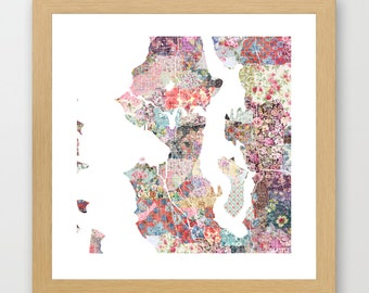 Seattle map | Seattle Painting | Seattle Art Print | Seattle Poster | Washington map | Flowers compositions