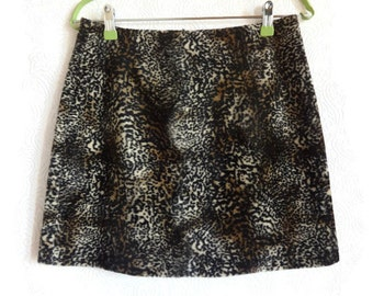 Faux Fur Leopard / Tiger Printed Skirt Short Skirt Low Waist Skirt Women's Clothing Fashion 90s Vintage Skirt