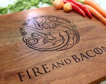 Game of Thrones, Fire and Bacon Personalized Cutting Board - Engraved Cutting Board, Custom Cutting Board, Housewarming Gift W-030 GB