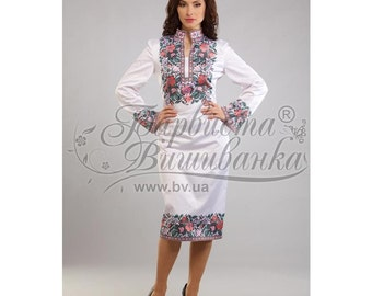 Embroidered beaded dress in traditionally Ukrainian style, handmade embroidery