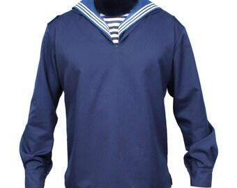 "USSR Russian Navy Blue Soviet sailor shirt seaman jacket with collar ""Flanka"""