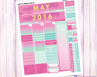 May Monthly View Kit, Printable Planner Stickers, Monthly Calendar, Monthly Spread, Pink and Green, Erin Condren, Spring, Summer, Ombre