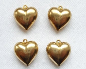4 Raw Brass 3D Full Puffed Heart Pendants