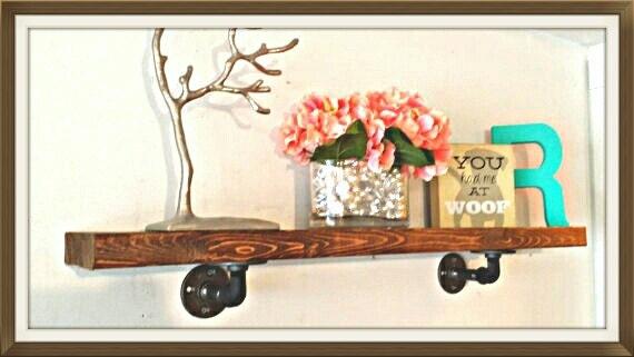 floating shelf pipe shelf 12 inch deep industrial shelves. Black Bedroom Furniture Sets. Home Design Ideas