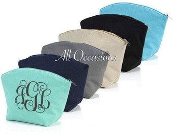 Monogram cosmetic bags, Personalized carry all tote, Monogram makeup bags, Gifts for her, Monogram handbags, Personalized bridesmaid gifts.
