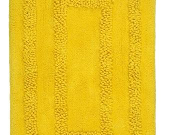 Hand Made Yellow Cotton Aena Bath Mat/Bath Rug(100cm x 60cm),2 Piece