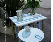 Redesigned nest of four tables in a coastal theme with sisal covered legs to main table
