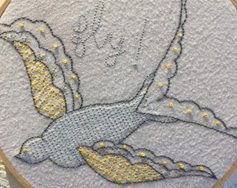 Fly! Embroidered Bird Wall Hanging