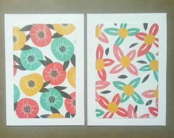 Patterned Blank Cards & Envelopes - Set of 2 - Poppies