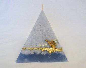 Artisan Pyramid Shaped Candle - Light Blue
