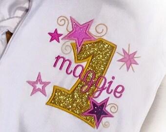 Twinkle Stars Girls 1st Birthday Shirt