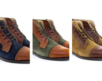 Woman Handmade Balmoral Boots in Brown Leather and Blue, Green or Mustard Suede - Made To Order