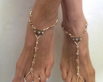 Barefoot Sandals, Golden Romance Barefoot Sandal, Foot Jewelry for a Beach Weddng, Gift for a Bridesmaids, Beach Wedding Sandals