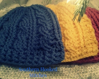 Cabled Beanies Sizes Toddler to Adult