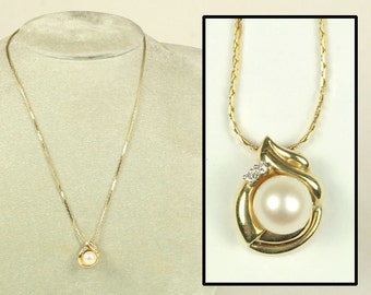 14K Yellow Gold Pearl Diamond Pendant