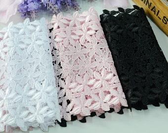 "2 yard 17cm 6.69"""" wide black/ivory/pink  embroidery lace trim trims ribbon L22K220 free ship"