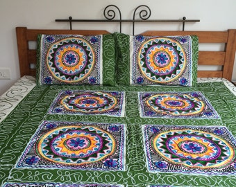 hand embroidered bed spread,Indian handcrafted cotton bed sheet,Indian Beach spread,Mirrorwork tapestry bedspread Vibrant cotton bedspread,
