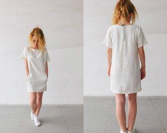 White minimal mini style dress