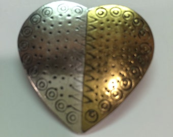 Heart brooch mix metal copper silver