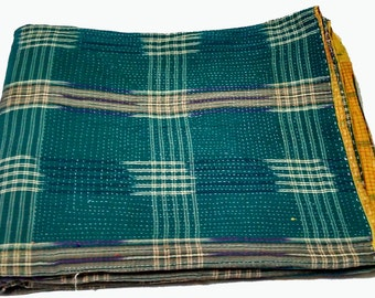 Indian Reversible Vintage Kantha Quilt,GudriBedcover,Wall hanging,Bed Cover,Table Cloth,Beach throw,Curtain,Picnic Sheet,Yoga Mat,Home Decor