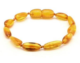 Baltic AMBER TEETHING BRACELET/ Anklet  - Polished Honey, 14cm