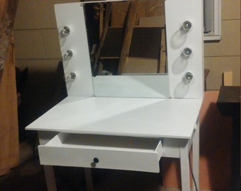 handmade hollywood vanity with desk with dimmer switch