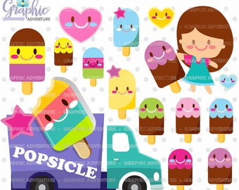 Popsicle Clipart, Popsicle Graphics, COMMERCIAL USE, Kawaii Clipart, Ice Cream, Popsicle Party, Planner Accessories, Ice Cream Truck, Sweet