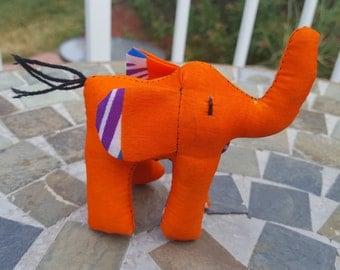 Elephant Africa Orange Kitenge Fabric