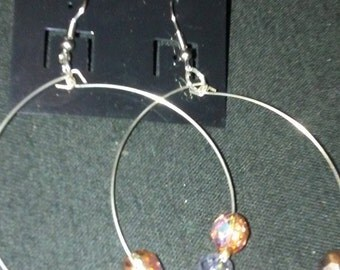 Copper and Silver Beaded Hoop Earrings