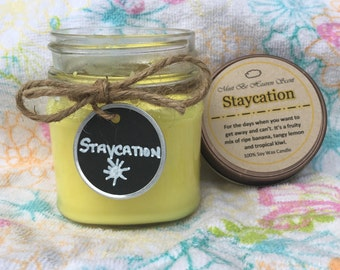 8oz Soy Candle/Staycation Summer Scent