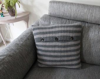 Wool Striped Ribbed Cushion