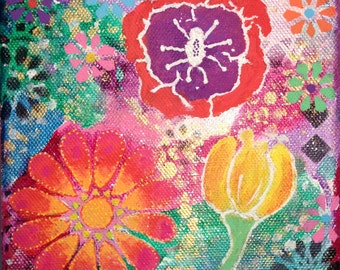 Dahlia Dream flower painting, Flower art, small canvas