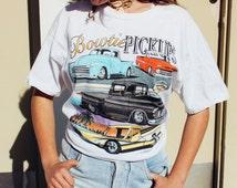 Bowtie Pickups Chevy Print Hot Rod Classic Car 80s 90s Vintage Tshirt Chevrolet American Metal Tee