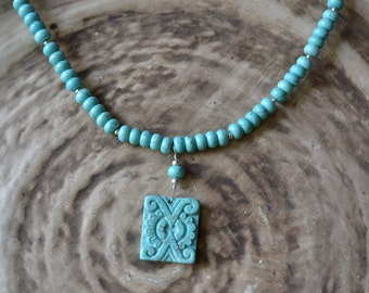 "Beautiful Magnesite Sterling Silver 18"" necklace"