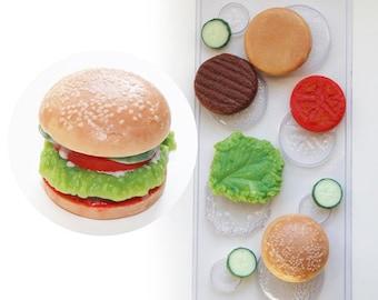 Burger plastic mold, cheeseburger plastic molds, fake food mold, resin food mold, soap mold, soap form, miniature food, junk food