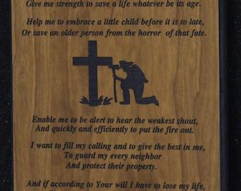Fireman's  prayer  plaque