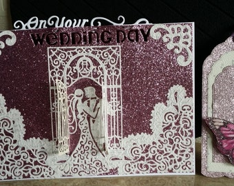 Hand made wedding card and gift tag