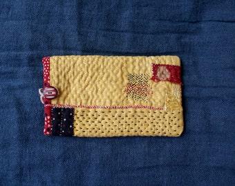 TURMERIC/pouch for glasses in vintage Indian cotton, block print/kantha/boro/sashiko